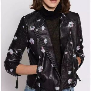 Joie Thisbe Floral Leather Jacket Moto